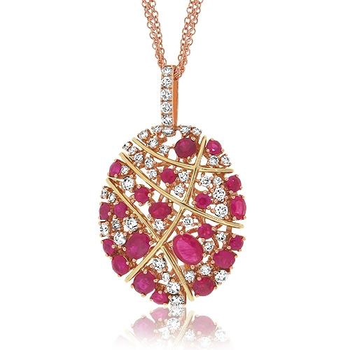 Diamond ruby cluster pendant simpsonjewelers aloadofball Images
